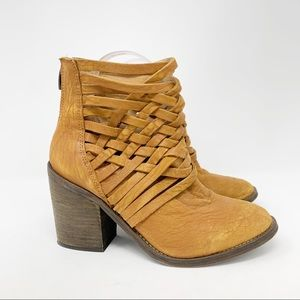 Free People Strappy Braided Leather Ankle Booties